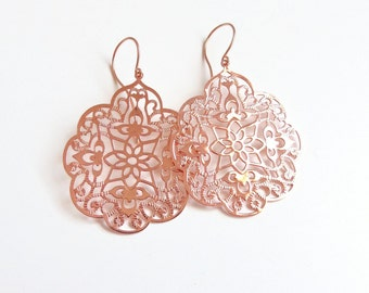 rose gold filigree earrings - boho earrings - rose gold earrings - rose gold dangle earrings
