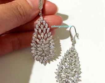 Bridal Earrings, Leaf Earrings, Marquise Earrings, Leaves Wedding Earrings, Cz Wedding Jewelry, Crystal Bridal Jewelry, Gift for Her, TROPIS
