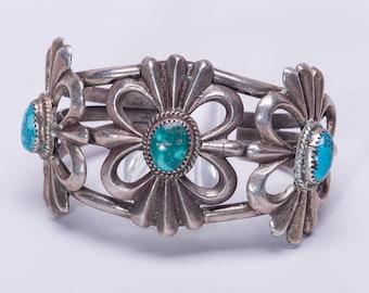 Big Navajo Turquoise Bracelet - 70s Sterling Sand Cast Cuff - Large Wrist 88g