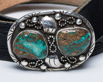 Navajo Belt Buckle - Royston Turquoise Sterling - 72g
