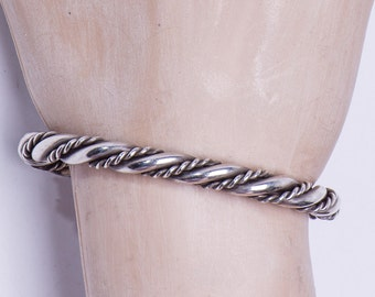 Navajo Sterling Twisted Rope - Cuff Bracelet - Dead Pawn - 37g