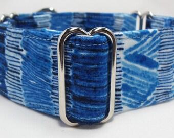 True Blue Stripe Greyhound, Whippet, Galgo, Pit Bull, Dog Sighthound Martingale Collar