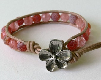 Leather Wrap Bracelet Fire Agate and Cherry Quartz Gemstone with Natural Distressed Leather Flower Leather Wrap Bracelet Coral Wrap Bracelet