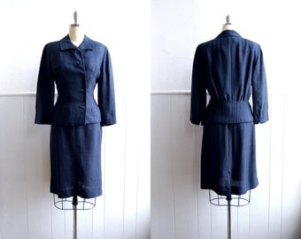 Late 1940s Silk Navy Blue Asymmetrical Button Suit // Tailored Pencil Skirt and Jacket