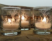 Set of 4 Glass Votive Holders Engraved 'Tree Branch' Winter Home Decor Holiday Candle Holder Wedding Table Decor