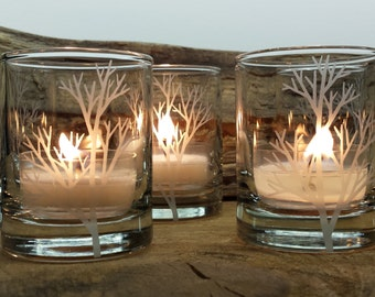 Set Of 4 Glass Votive Holders Engraved Tree Branch Winter Home Decor Holiday Candle