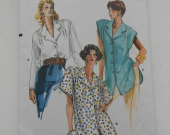 Vintage 80s Misses Front Button Blouse or Shaped Hemline Tunic Sewing Pattern Vogue 9846 Size 8 10 12 Bust 31 1/2 32 1/2 34