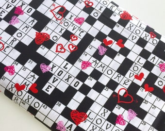 Crossword Love Amore - Kanvas / Benartex cotton woven fabric by the yard