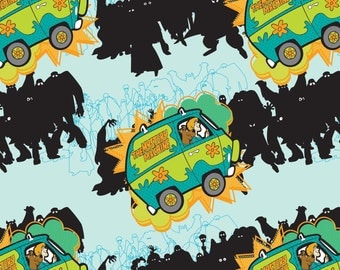 Scooby Doo Mystery Machine Aqua Camelot Cotton Woven BTY