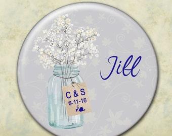 Personalized Pocket Mirror, Mason Jar, Rustic, Any Color, Bridesmaid gift, Wedding Favor