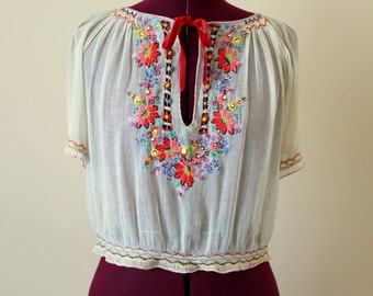 1930s Hungarian embroidered peasant blouse
