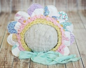 bloom bonnet // sitter flower hat // quilted petals // baby photo prop // summer photography prop hat // ready to ship // 12 to 24 months