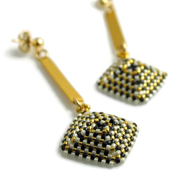 I Heart My Armani Textured Square Dangle Earrings
