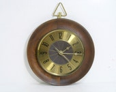 Mid Century Danish Modern Wall Clock by Elgin Wood Brass Deep Browns
