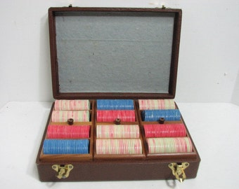Vintage Poker Chip Set in Case Lowe Swirl Plastic Map Design 3 Wood Trays in Carrying Case 1930s-40s Card Game