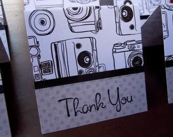 Black and White Camera Print Mini Thank You Cards (6)