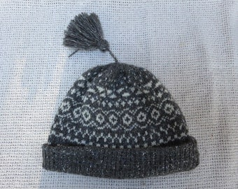 Hand Knit Classic Wool Beanie Hat - Nordic Fair Isle  - All sizes available