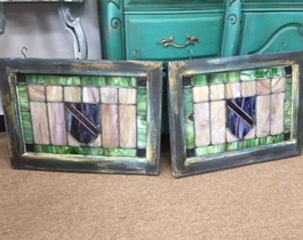 "Set of ""Shield"" Stained Glass Windows"