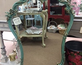 Ornate Shaped Mirror in Shades of Blues and Greens