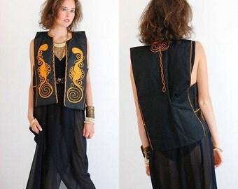 sale 25% every sunday Folk Festival Vest Vintage 70s Black Ethnic Mexicana Braided Folk Hippie Vest (m l)