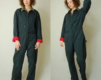 Quilted Jumpsuit Vintage Dark Teal WALLS Distressed Utilitarian Quilted Insulated Outerwear Coveralls Jumpsuit (m l)