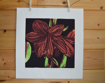 Amarylis Linocut Print, Flower Print, Linocut, Linoleum Block Print, Home Decor, Fine Art Print, Handprinted Art, Block Print