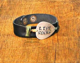 Guitar Pick Mens Leather Bracelet Life Rocks rocker musician music saying black As Seen at GBK's 2016 MTV Movie Awards Celeb Gift Lounge