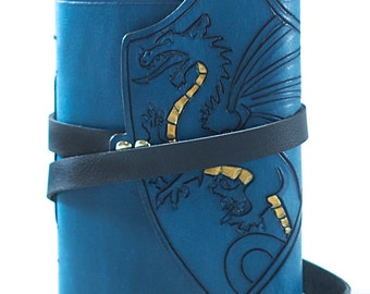dragon notebook, pocket notebook, dragon journal, blue dragon, dungeon master, gold dragon book, dragon book, journal with lined pages