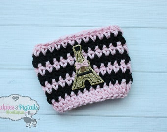 Paris Coffee Cup Crochet Cozy { Eiffel Tower } gold glitter pink black, vacation Coffee cup cozy, mug sweater, starbucks plastic cups