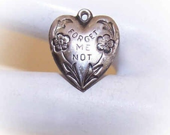 Vintage STERLING SILVER Puffy Heart Charm - Forget Me Not with Florals