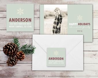 Snowflake Return Address Label - Square Label - Holiday Return Address Label - Christmas Label - Return Address Sticker - Green - WH169