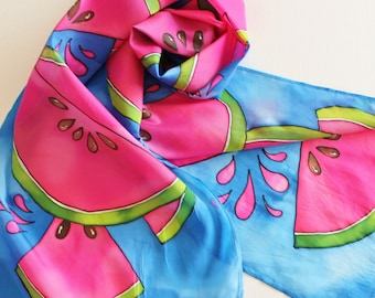 Hand Painted Silk Scarf - Handpainted Scarves Watermelon Pink Royal Sapphire Blue Green Lime Summer Picnic Bright