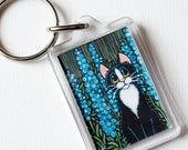 Tuxedo Cat and Blue Delphinium Flowers Whimsical Art Keyring / Keychain - Cat Lover Gifts