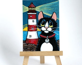 Original ACEO Tuxedo Cat Red White Striped Lighthouse Coast Sunrise - Whimsical Art Illustration
