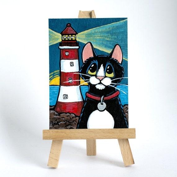 Original ACEO Tuxedo Cat Red White Striped Lighthouse Coast Sunrise - Whimsical Art Illustration