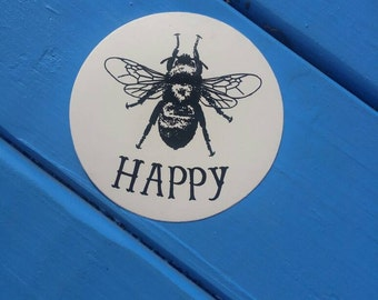 Bee Happy Vinyl Sticker