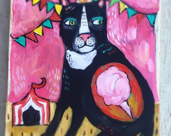 Small Folk Art Cat Painting on Repurposed Wood