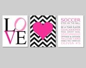 Soccer Wall Art for Girls Soccer Room Decor Set of 3 Prints - Soccer Rules Wall Art, Love Art, Chevron Heart Art - CHOOSE YOUR COLORS