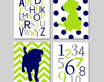 Navy Blue Lime Green Puppy Dog Nursery Art - Set of Four 8x10 Prints - Alphabet, Numbers, Polka Dot Chevron Puppy Dogs - CHOOSE YOUR COLORS