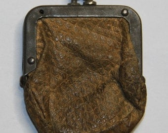 Tiny Vintage Miniature Leather COIN PURSE- Doll Purse Antique- Altered Art- Found Object Supply