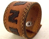 Randy Personalized Leather Cuff / Reclaimed Bracelet Jewelry / Unisex Recycled