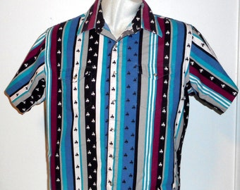 Vintage Western Shirt Wrangler Cowboy Cut Bucking Horse Distressed Pearl Snaps 17