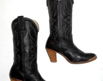 Womens Cowboy Boots Western Fashion Acme High Heels Size 6.5 M Black Boho Urban