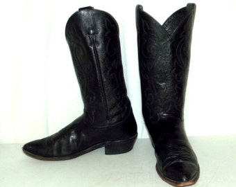 Distressed Black on Black Justin Cowboy Boots mens size 10 D / womens 11.5 western shoes