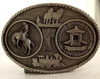 Conway Springs Kansas Centennial Belt Buckle KS horse bronco cowboy 1984