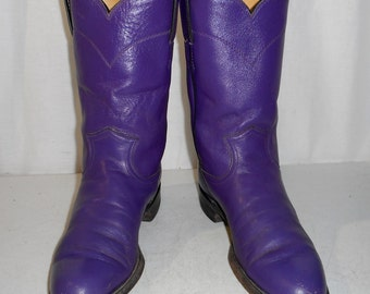 Purple Roper Womens Cowboy Boots Justin brand size 6 B Distressed Cowgirl Shoes