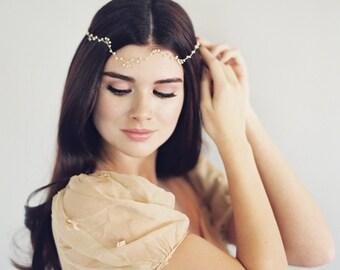 Hair Wreath, Boho Crown, Hair Halo, Pearl Crown, Downton Abbey Halo, Woodland Crown, Crystal Headdress, Hair Jewelry, Hair Garland, 1617