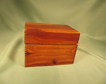 INDEX FILE BOX, Antique cedar index file box, Decorative Box originally an Index file box, 5 inch wide Vintage Antique Cedar box for table