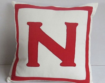 monogram pillow. off  white  monogram  pillow. custom  made  initial pillow. chose  your  monagram  and  colour.  18 inch. custom made