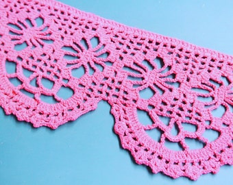 Vintage 1950s wide handchrochet well done cerise pink cotton lace for your sewing/decoration prodjects
